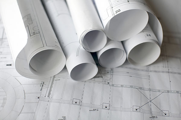 white planning sheets for construction